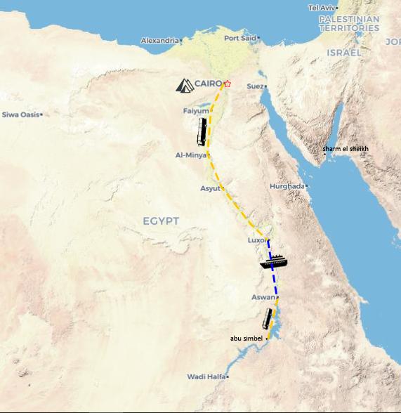 Egypt Mania: Pyramids, Nile Valley & Lake Nasser map